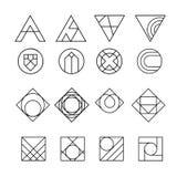 Geometrische abstracte contourvormen, met verschillende combinaties lijnen binnen de vorm Stock Fotografie