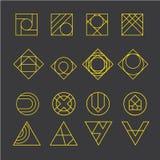 Geometrische abstracte contourvormen, met verschillende combinaties lijnen binnen de vorm Stock Illustratie