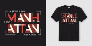 Geometrische abstracte de stijlt-shirt en kleding van Manhattan New York Stock Illustratie