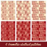 6 geometrische abstracte patronen Royalty-vrije Stock Fotografie