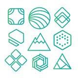 Geometrische abstrakte Konturnformen, mit verschiedenen Kombinationen von Linien innerhalb der Form Stockfotos