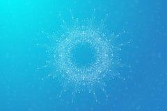 Geometrische abstrakte runde Form mit verbundener Linie und Punkten Chaotischer Hintergrund des Minimalismus Lineares Zeichen, Sy Lizenzfreies Stockfoto