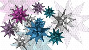 Geometrische Abstraktion mit schönen Sternen auf Hintergrund stock footage