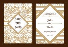Geometrische Abwehr die Datums- oder Hochzeitseinladungskarte Romantische Kartenschablone des Weinlesevektors Lizenzfreies Stockfoto