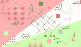 In geometrische achtergrond, patroon met de elementen van Memphis Modern abstract ontwerp voor affiche, dekking vector illustratie