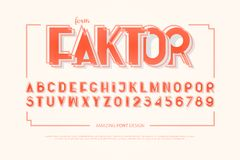Geometrische Alphabetbuchstaben und -zahlen Vektor, mutige Gussart lizenzfreie abbildung