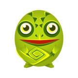 Geometrische Amphibie des netten grünen Chamäleons, bunte Zeichentrickfilm-Figur-Vektor Illustration lizenzfreie abbildung