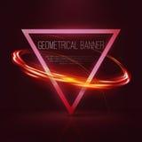 Geometrische banners met neonlichten Royalty-vrije Stock Foto