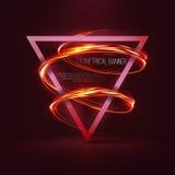 Geometrische banners met neonlichten Stock Afbeelding