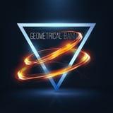 Geometrische banners met neonlichten Stock Foto's