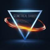 Geometrische banners met neonlichten Royalty-vrije Stock Afbeelding
