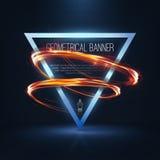 Geometrische banners met neonlichten Royalty-vrije Stock Afbeeldingen