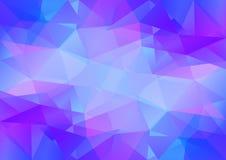 Geometrische blauwe en violette achtergrond met driehoekige veelhoeken Abstract ontwerp Vector illustratie Stock Afbeeldingen