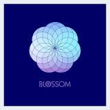 Geometrische bloem in modieuze kleuren Malplaatje voor het embleem, embleem royalty-vrije illustratie