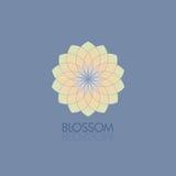 Geometrische bloem in modieuze kleuren Malplaatje voor het embleem, embleem vector illustratie