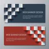 Geometrische breite horizontale Fahnen mit dem Effekt 3D für Geschäftswebsite Lizenzfreie Stockfotos