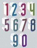 geometrische bunte Zahlen 3d eingestellt Lizenzfreie Stockfotografie