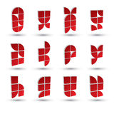 Geometrische 3d eenvoudige geplaatste symbolen, abstracte vector abstracte pictogrammen Stock Fotografie