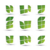 Geometrische 3d eenvoudige geplaatste symbolen, abstracte vector abstracte pictogrammen Royalty-vrije Stock Fotografie