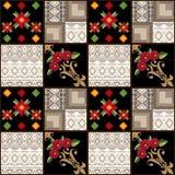 Geometrische de elementenachtergrond van het lapwerk naadloze patroon Stock Afbeeldingen