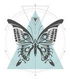 Geometrische de kunstsamenstelling van de Machaonvlinder royalty-vrije illustratie