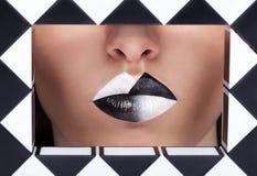Geometrische de manier maakt omhoog op lippen Stock Fotografie