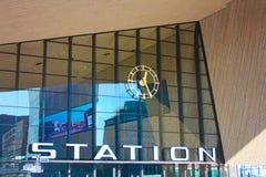 Geometrische Details des Hauptbahnhofs der modernen Stadt von Rotterdam lizenzfreie stockfotos