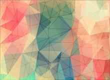 Geometrische Dreiecke auf buntem Hintergrund, polygonaler Vektor Stockbild