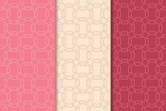Geometrische Drucke des Kirschrotes Set nahtlose Muster Lizenzfreies Stockbild
