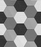 Geometrische Fliesen mit gestreiften Hexagonen, Vector nahtloses Muster Lizenzfreie Stockfotos