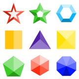 geometrische Formen 3D Ein Satz dreidimensionale farbige geometrische Formen stock abbildung