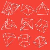 Geometrische Formen des Feldes Satz Pyramiden, Würfelmineralien stock abbildung