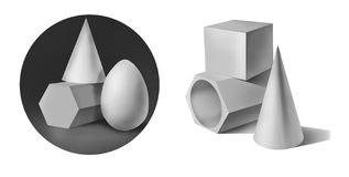 Geometrische Formen des Gipses Stockfotos