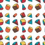 Geometrische Formen Hand gezeichnetes nahtloses Muster des Vektors Lizenzfreie Abbildung