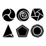 Geometrische Formen - um und dreieckiger geometrischer Form-Vektor eingestellt für Zeichen und Symbole Stockfoto