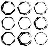 Geometrische frames Reeks gespannen geometrische cirkelkaders Stock Afbeeldingen