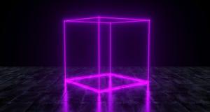 Geometrische futuristische Sciencefictions-ursprüngliches Würfel-Neonlicht auf dunklem GR vektor abbildung