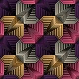 Geometrische Gestileerde Bloemblaadjes, Vector Naadloos Patroon Stock Afbeeldingen
