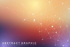 Geometrische grafische molecule en mededeling als achtergrond Grote gegevens complex met samenstellingen Perspectiefachtergrond m royalty-vrije illustratie