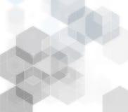 Geometrische grijze molecule en mededeling als achtergrond Vector illustratie Stock Foto