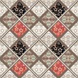 Geometrische het patroonachtergrond van lapwerk naadloze retro sterren Royalty-vrije Stock Afbeelding