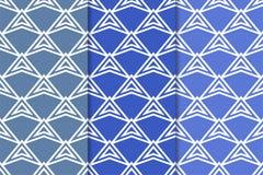 Geometrische Hintergründe Blaue vertikale nahtlose Tapeten Farbsatz Lizenzfreie Stockfotografie
