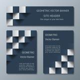 Geometrische horizontale und vertikale Fahnen der unterschiedlichen Breite mit dem Effekt 3D für Geschäft websit Stockbilder