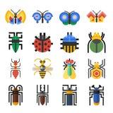 Geometrische Ikonen der Insekten eingestellt Lizenzfreies Stockbild