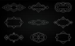Geometrische Ikonen, Zeichen, Aufkleber, lizenzfreie stockfotos