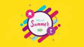 Geometrische Intro mit Aufschrift, Zeichenhallo Sommer auf gelbem Hintergrund stock abbildung