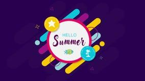 Geometrische Intro mit Aufschrifthallo Sommer auf purpurrotem Hintergrund vektor abbildung
