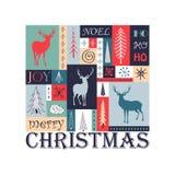 Geometrische Kerstmis moderne kaart Royalty-vrije Stock Afbeeldingen
