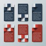 Geometrische kleine schmale vertikale Fahnen mit Effekt 3d für eine Geschäftswebsite Stockfotografie