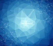 Geometrische Lichtblauwe Veelhoekige molecule en mededeling als achtergrond Verbonden lijnen met punten Minimalismachtergrond Con stock illustratie